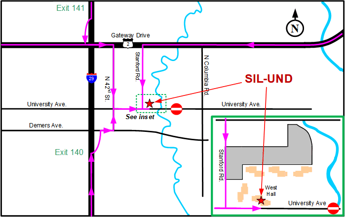 Map to West Hall
